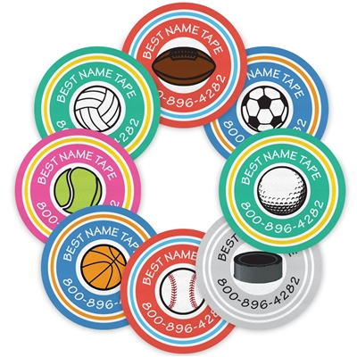 COLOR SPORTS - CIRCLE PRESS-ON LABELS