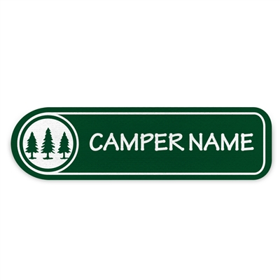 <!006>FRIENDLY PINES CAMP - LOGO RECTANGLE PRESS-ON LABELS
