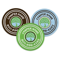 <!007>CAMP LAURELWOOD - LOGO CIRCLE PRESS-ON LABELS