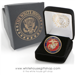 Marine Corps Lapel Pin, USMC Seal Lapel Pin, Semper fi, Quality upgraded clutch, in custom White House Gift Shop jewelry box.
