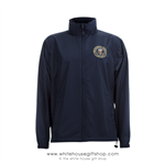 Camp David Presidential Retreat Windbreaker Jacket, Midnight Navy, Blue, high tech fiber, machine wash and dry, quality USA custom embroidery.