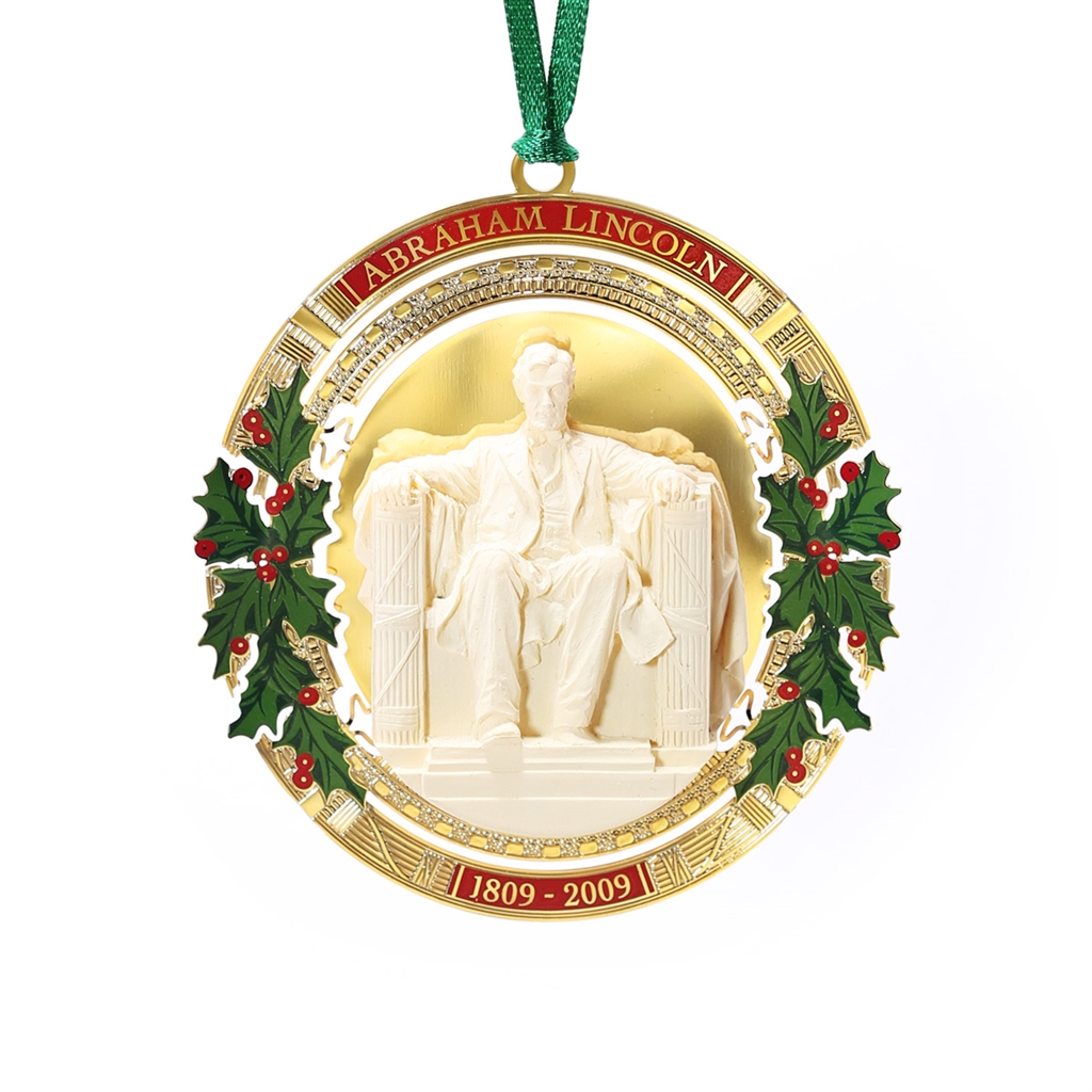 Wonderful 2009 White House Ornament, President Abraham Lincoln, 24 KT Gold Plated,  Now Limited, 2009 Bicentennial, Commemorates Feb 12, 1809 Birthday,  Handmade In The ...