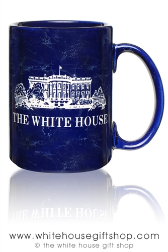 White House Mug, Etched in USA, Cobalt Marbled Blue, 15 ounce Large Mugs, Impressive Image of South Lawn,
