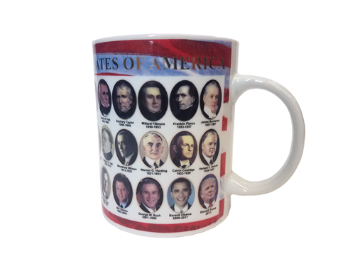 President Donald J. Trump Coffee and Beverage Mug with Portraits and Administration Dates of All United States Presidents including President Barack Obama. From the Official White House Gifts and Gift Shop Drinkware Collection.