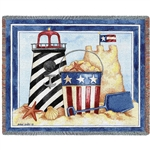 Summer Days at the Beach Patriotic American Flag Themed Throw from the White House Gift Shop