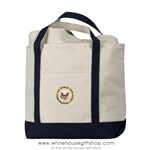 Air Force One Presidential Guest Canvas Tote Shopping Bag, Made and Embroidered in America