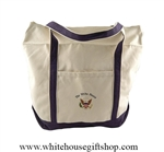 White House Presidential Seal Zippered Tote Shopping Carry Bag, Embroidered, Heavy Durable Canvas, Large, Shoulder Strap, Vacation carry on from the official authentic original White House Gift Shop, Est. 1946.