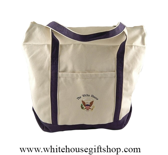 White House Presidential Eagle Seal Totes Shoulder Strap Durable Canvas Tote Bag Expanding Zips Pocket Embroidered 21 By 23 Inches Our Finest