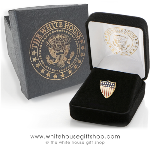 US Flag, Union Crest American Flag Pin, 1/2 inch flag pin, quality gold and enamel finishes, premium clutch, custom White House Gift Box, from the Official Original White House Gift Shop since 1946.