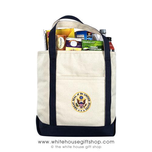 Great Seal of the United States, Presidential Carry Tote Bag, custom Embroidered in the USA, heavy duty canvas bags, shoulder strap, Washington DC visitor carry bags, from official White House Gift Shop Est. 1946 by President Truman memorandum.