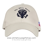 Made in the USA, Presidential Eagle Seal Hat, Cap, Structured Cotton, Khaki, Stone, American Flag Embroidered on side, Velcro Adjustable Strap, Made in America