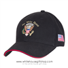 Presidential Eagle Seal Black Hat with White House text, 100% Made in America, Embroidered, US Flag on side, Cotton Cap, Velcro Adjustable,