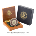 "Iwo Jima Memorial Coin in Presentaton Case with Memorial on Front and U.S. Marine Corps Seal on Reverse, 1.5"" Diameter, Brass with Baked Enamels. From Official White House Gift Shop Est. by Presidential Order and U.S. Secret Service Store."