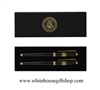 President Lacquor Roller Ball Pen Set, 2-piece Black Pens, Set in Customer White House Presentation Box