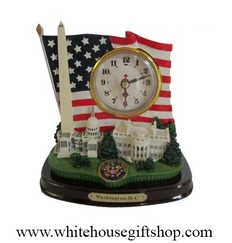American Flag & Monuments Clock
