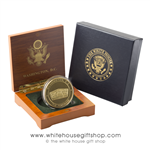 Pentagon Challenge Coin in Wooden Presidential Presentation Case with Seal of the President and the Great Seal of the United States from the Official White House Gift Shop Est. by Order of the President and U.S. Secret Service.
