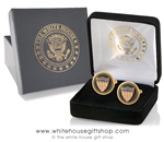 American Flag Cufflinks, 24K gold, Custom White House Velvet jewelry case and outer presentation box, official store