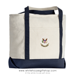 White House American Eagle, USA Embroidered, Zippered , Shoulder Strap, Canvas Tote Shopping Bag