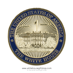 President Trump White House Challenge Coin, premium grade copper alloy core and jewelry gold and blue finishes set in upgraded clear plastic case with individual zip bag to protect each coin.
