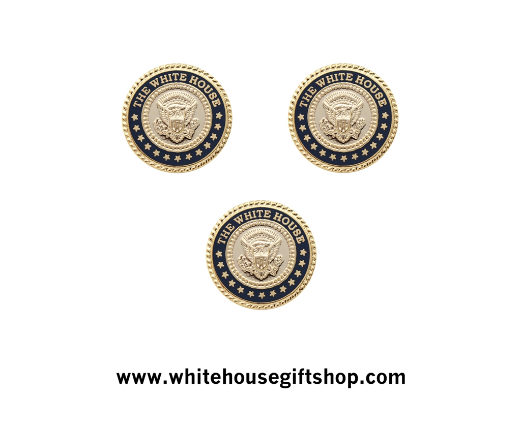 White House Presidential Cufflinks Set with Matching Lapel Pin or Tie Tack,  24KT Gold Plated, Sculpted, Thirteen Stars, Cobalt Setting, Two Cases