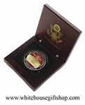 The White House Presidential Commemorative Gold Coin in Wood Presentation Case Features Minted Raised White House on Coin's Front and Great Seal of the United States on Reverse. Official White House Gift Shop. Design by artist Anthony Giannini.