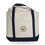 White House Seal Canvas Tote Bag, Shoulder Strap, Embroidered Presidential Seal