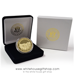 Korean War Memorial Challenge Coins from the Official White House Gift Shop, 1 gold coin in custom display with Presidential Seal