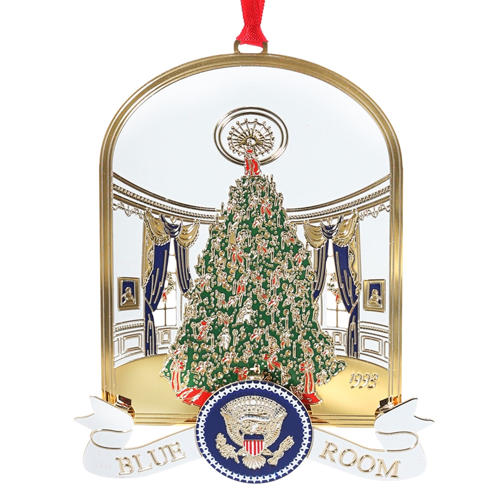 1993 White House Ornament, THE BLUE ROOM, Handmade in USA