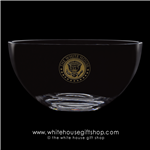 Gold Seal of the President elegant  Crystal Glass White House Dining Room Bowl from the Official White House Gift Shop Presidential glassware collection, upscale, hand blown, premium crystal gift ware with deep, permanent etching, authentic , original.