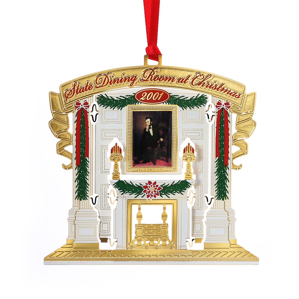 2001 white house ornament 11 in series state dining room 2001 white house ornament 11 in series state dining room christmas president lincoln portrait 24 kt gold plated handmade in usa dzzzfo