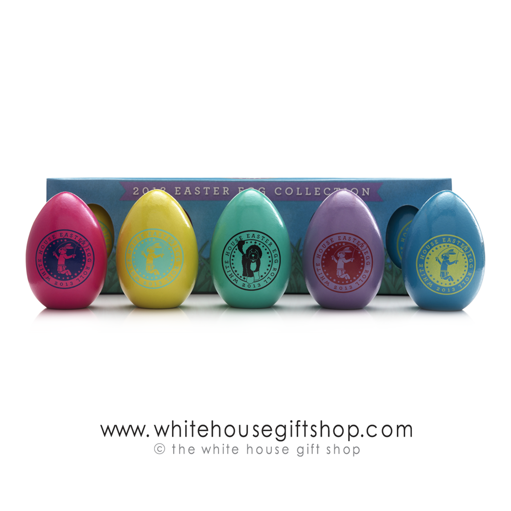2013 Obama Signed Eggs Very Rare White House Easter Egg Roll Official Annual Wooden Eggs Set Of Five One Egg Of Each Color Signed Certificate Of