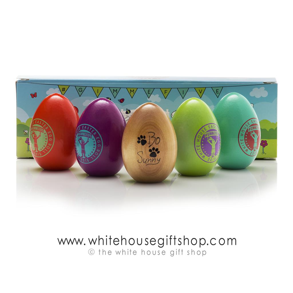 2015 White House Wood Easter Egg Very Rare Annual Wooden Egg Roll Eggs President Barack Obama Signature Complete Set Of 5 Usa Made Hardwood