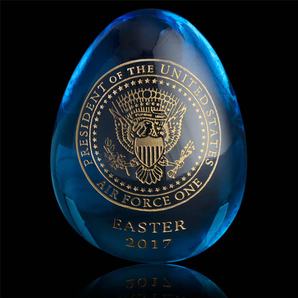 2017 air force one annual easter egg, clear stellar blue art glass