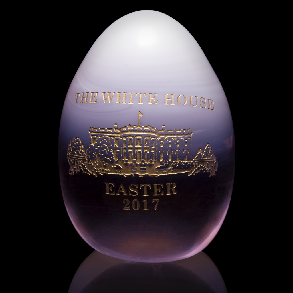 2017 Annual White House Glass Architecture Easter Egg Entitled Cherry Blossom Blush With 24 Karat Gold Engraved Handmade In Usa Giannini Series