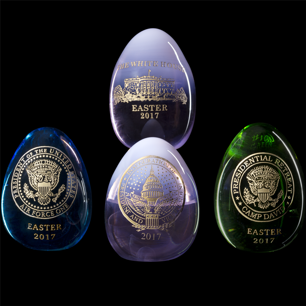 9 White House Gift Shop Annual Easter Eggs, Set of 9, Entitled Symbols  of the Presidency, 9% USA Hand-Made, Each Egg Unique, 29-KT Gold  Engraved,