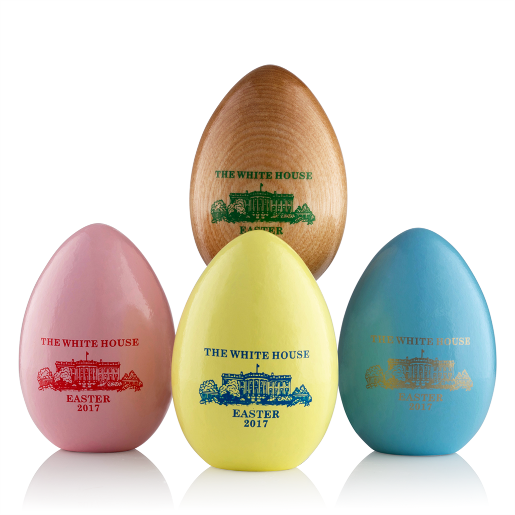2017 White House Gift Shop Annual Wooden Easter Eggs New Annual Unsigned Collection Includes Set Of 4 Elegant Two Piece Box Seal And Crinkle Shred