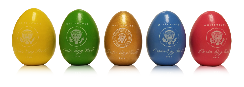 2018 Wooden White House Easter Egg Roll President Trump Signed Set Of 5 Official Annual Wood Eggs