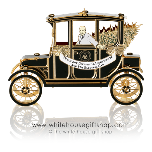 2019 Official White House Christmas Ornament President Eisenhowerand His Electric  Car from 1952 Campaign