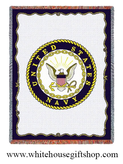 United States Navy Logo Throw Blanket Made In America 100