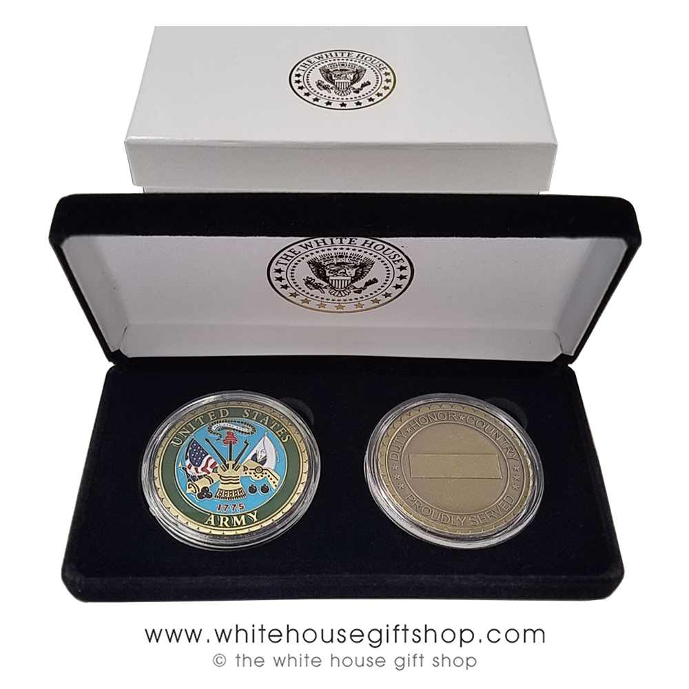 Challenge Coins, USA, United States Army, Two Coins, Pewter & Enamel, in  White House Seal Velvet Display Case, 1 5