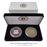 United States Coast Guard Challenge Coin Set, 2 Coast Guard coins, custom display case and presentation gift box, with White House gold Seal on lid, from original official White House Gift Shop Est. 1946.