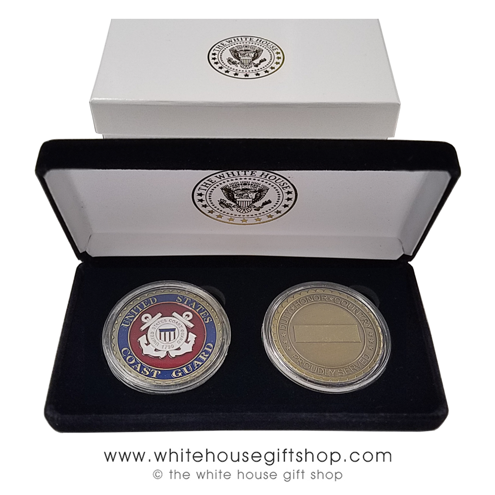 Challenge Coins, USCG, United States Coast Guard, Two Coins, Brass &  Enamel, New Velvet Display Case with White House Seal and 2-piece outer