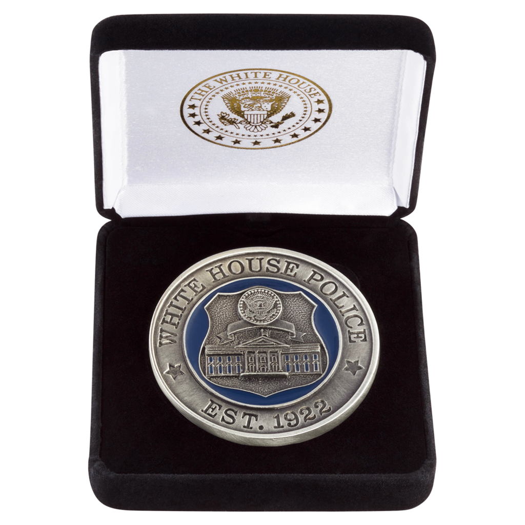 White House Police, Est  1922 Medallion or Distinguished Challenge Coin in  Velvet Presentation Case, Silver Satin Pewter with Premium Copper Alloy