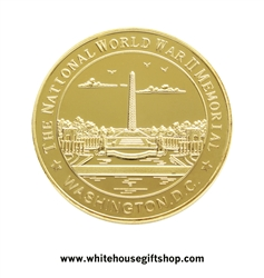 "World War II Challenge Coins, gold finished, 1.5"" diameter, protective plastic capsule, from official White House Gift Shop, established 1946 by the uniformed division of Secret Service of the United States."
