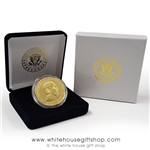 Barack Obama Challenge Coin, Presidential Seal on rear, in custom velvet coin case and outer White House 2-piece presentation gift box with White House Presidential Eagle Seal on both boxes, premium item from official White House Gift Shop since 1946.