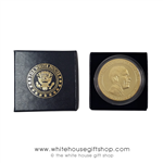 Barack Obama Challenge Coins, Presidential Seal on rear, coin set in custom presentation gift box and Presidential White House Eagle Seal on lid, premium item from official White House Gift Shop since 1946, elegant gift.