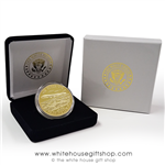 Air Force One Coins, high quality copper core, gold challenge coin, in velvet display case and White House Seal of President 2-Piece presentation gift box, from original official White House Gift Shop since 1946.