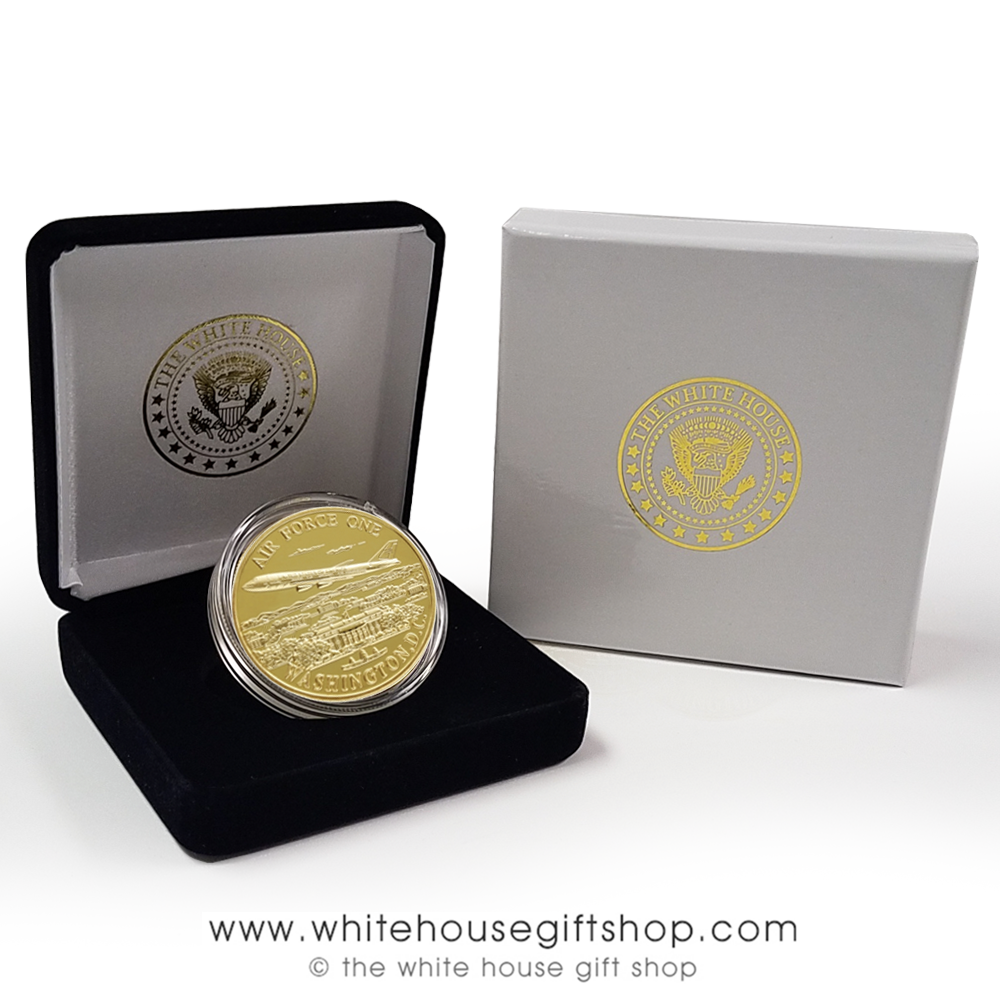 COINS, AIR FORCE ONE Challenge Coin with PRESIDENTIAL SEAL ON REVERSE, IN  QUALITY VELVET CASE and outer presentation box, Copper Alloy Core Jewelry