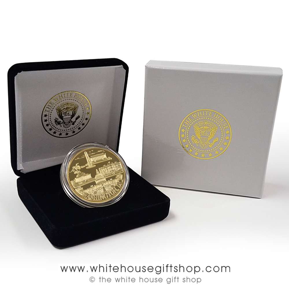 Washington DC Panorama Memorial Visitor Challenge Coins, 1 coin in Custom  Velvet Display case, outer presentation gift box, 1 5