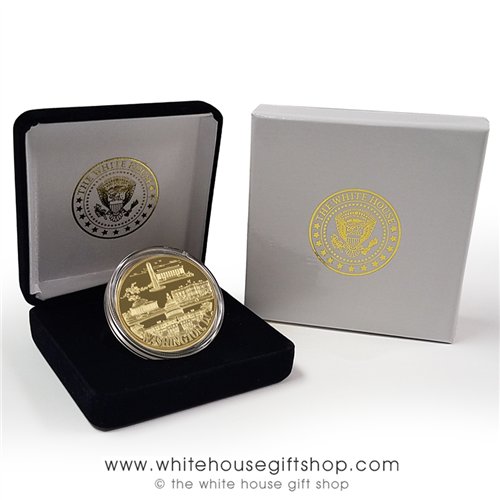 Washington D.C. Commemorative challenge Coin in Display Case, from Official White House Gift Shop Established by Order of the President and Members of U.S. Secret Service, 1946, White House, US Capitol, Lincoln Memorial, Jefferson Monument, WWII Memorial.